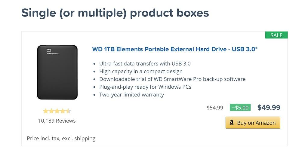 Amazon AAWP product boxes