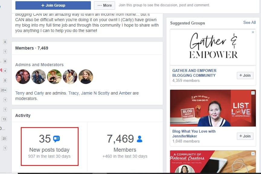 Facebook groups members engaging