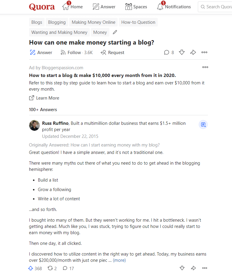 Quora answers for driving Traffic