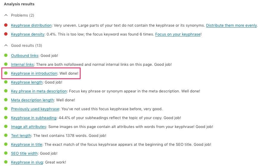 Yoast SEO Focus Keyword analysis for WordPress SEO.