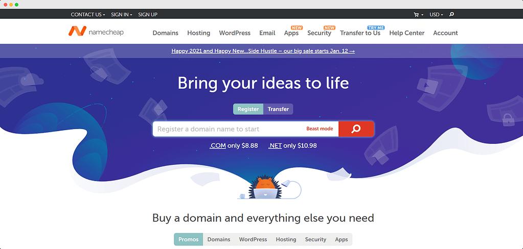 Namecheap domain-cost to start a blog