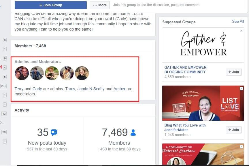 Facebook groups admins and moderators