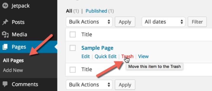 Delete the default WordPress Data Tasks