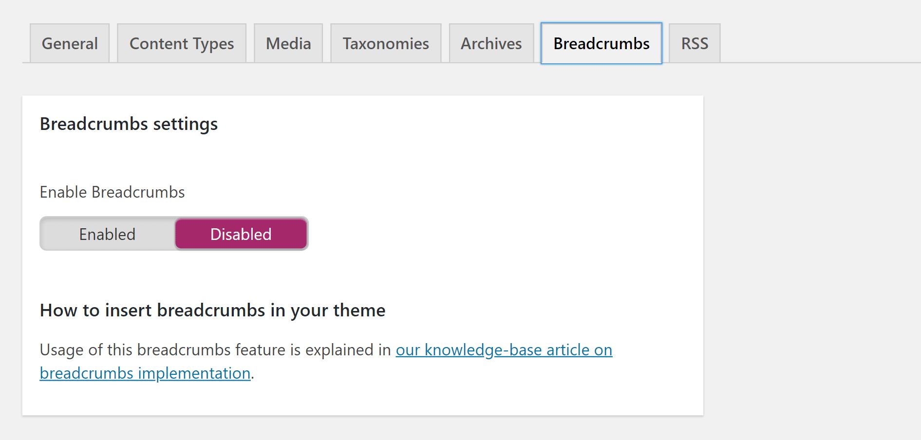 Enable breadcrumbs for WordPress SEO