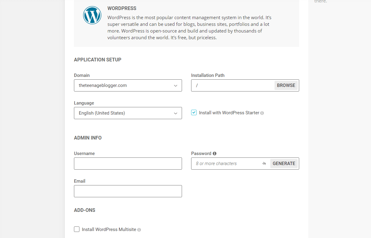 start a blog - WordPress form