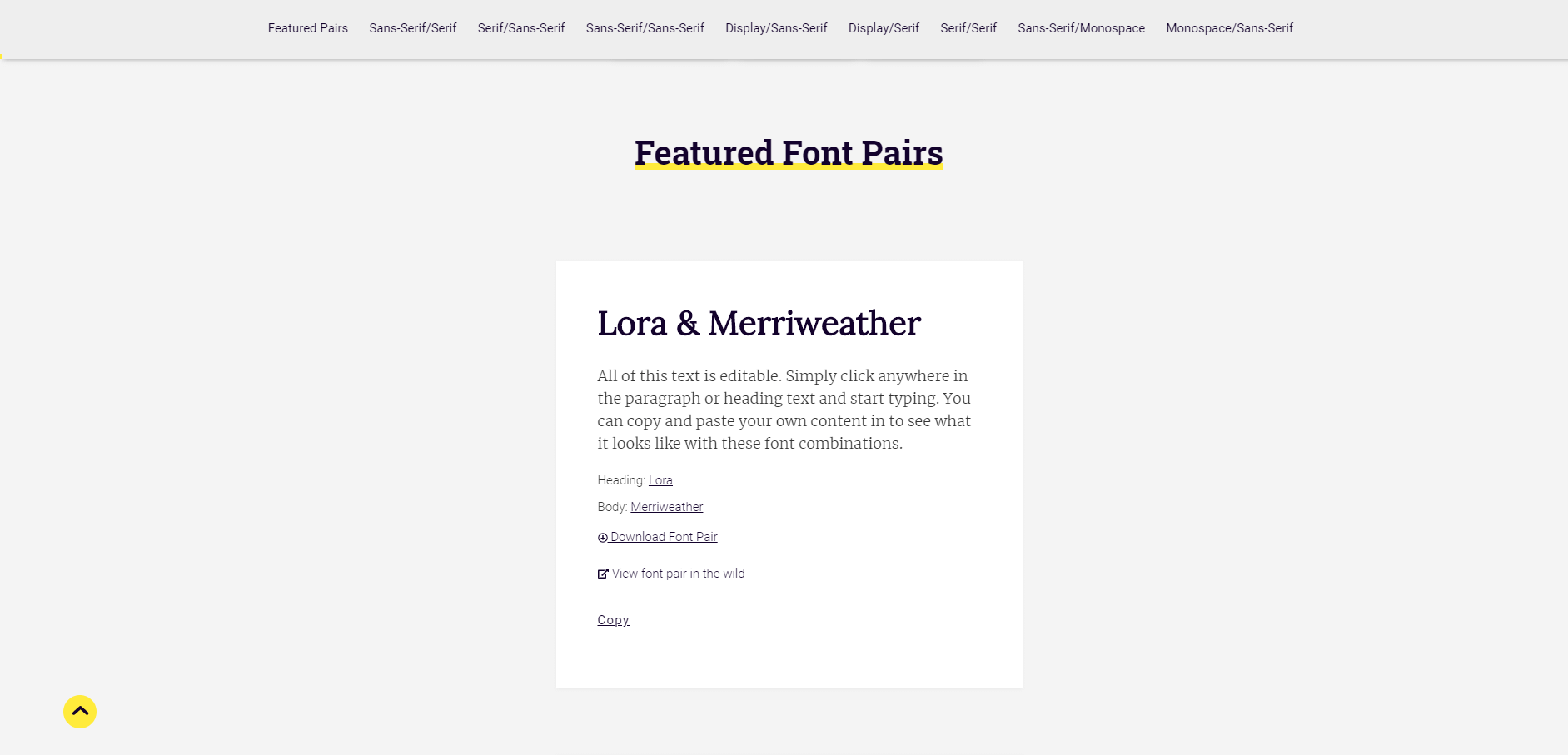 Font Pairing tool