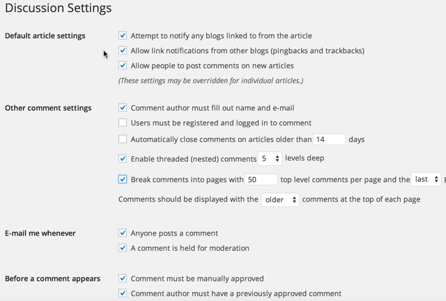 Adjust WordPress Comments Settings Tasks